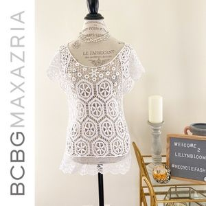 BcbgMaxAzria cut out white embroidered blouse
